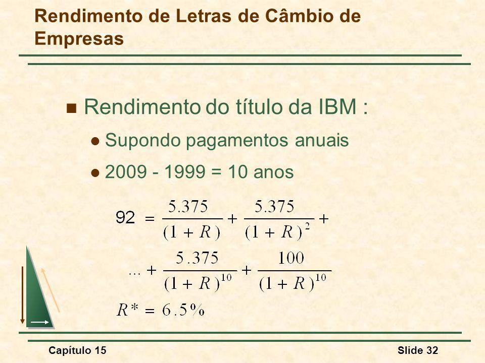 Capítulo 15Slide 32 Rendimento de Letras de Câmbio de Empresas Rendimento do título da IBM : Supondo pagamentos anuais 2009 - 1999 = 10 anos