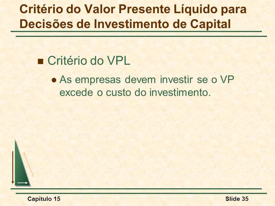 Capítulo 15Slide 35 Critério do VPL As empresas devem investir se o VP excede o custo do investimento.