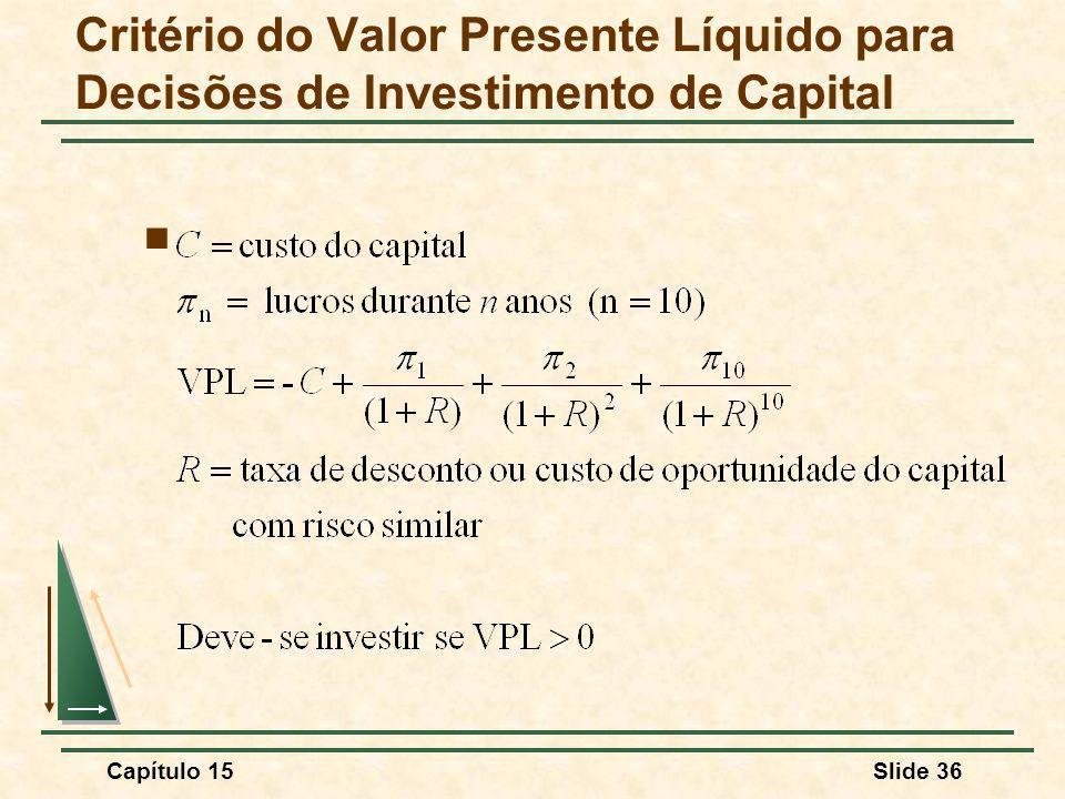 Capítulo 15Slide 36 Critério do Valor Presente Líquido para Decisões de Investimento de Capital