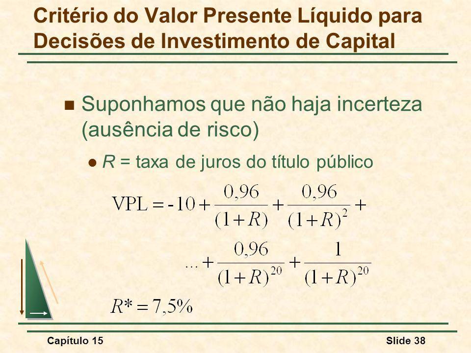 Capítulo 15Slide 38 Suponhamos que não haja incerteza (ausência de risco) R = taxa de juros do título público Critério do Valor Presente Líquido para Decisões de Investimento de Capital