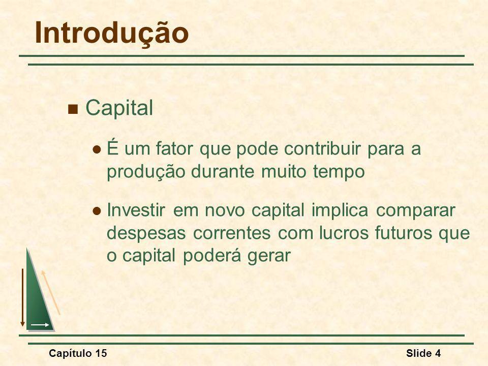 Capítulo 15Slide 4 Introdução Capital É um fator que pode contribuir para a produção durante muito tempo Investir em novo capital implica comparar despesas correntes com lucros futuros que o capital poderá gerar