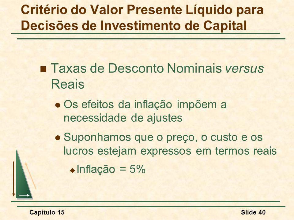 Capítulo 15Slide 40 Taxas de Desconto Nominais versus Reais Os efeitos da inflação impõem a necessidade de ajustes Suponhamos que o preço, o custo e os lucros estejam expressos em termos reais Inflação = 5% Critério do Valor Presente Líquido para Decisões de Investimento de Capital