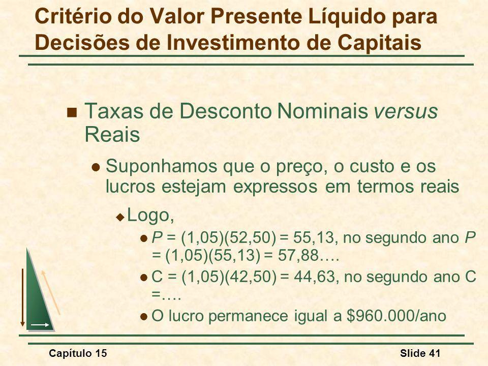 Capítulo 15Slide 41 Taxas de Desconto Nominais versus Reais Suponhamos que o preço, o custo e os lucros estejam expressos em termos reais Logo, P = (1,05)(52,50) = 55,13, no segundo ano P = (1,05)(55,13) = 57,88….