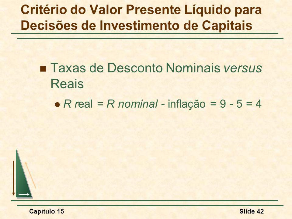 Capítulo 15Slide 42 Taxas de Desconto Nominais versus Reais R real = R nominal - inflação = 9 - 5 = 4 Critério do Valor Presente Líquido para Decisões de Investimento de Capitais