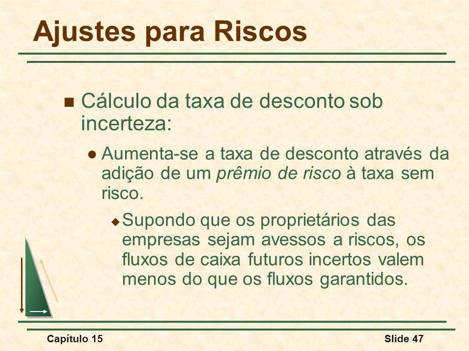 Capítulo 15Slide 47 Ajustes para Riscos Cálculo da taxa de desconto sob incerteza: Aumenta-se a taxa de desconto através da adição de um prêmio de risco à taxa sem risco.