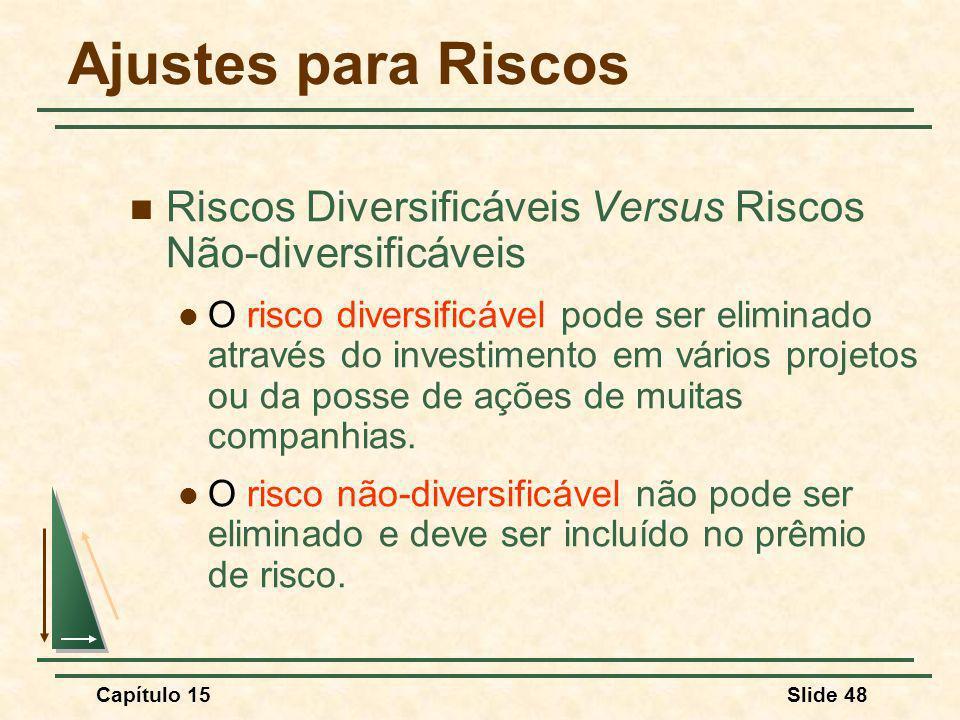 Capítulo 15Slide 48 Ajustes para Riscos Riscos Diversificáveis Versus Riscos Não-diversificáveis O risco diversificável pode ser eliminado através do investimento em vários projetos ou da posse de ações de muitas companhias.