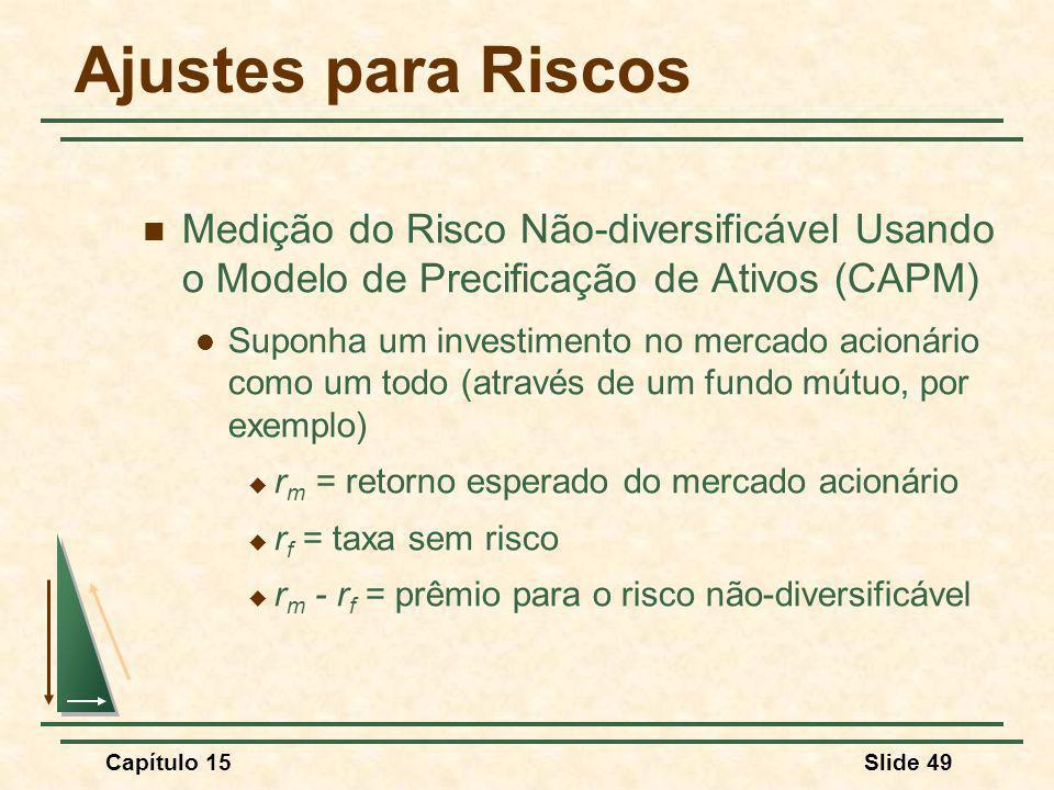 Capítulo 15Slide 49 Ajustes para Riscos Medição do Risco Não-diversificável Usando o Modelo de Precificação de Ativos (CAPM) Suponha um investimento no mercado acionário como um todo (através de um fundo mútuo, por exemplo) r m = retorno esperado do mercado acionário r f = taxa sem risco r m - r f = prêmio para o risco não-diversificável
