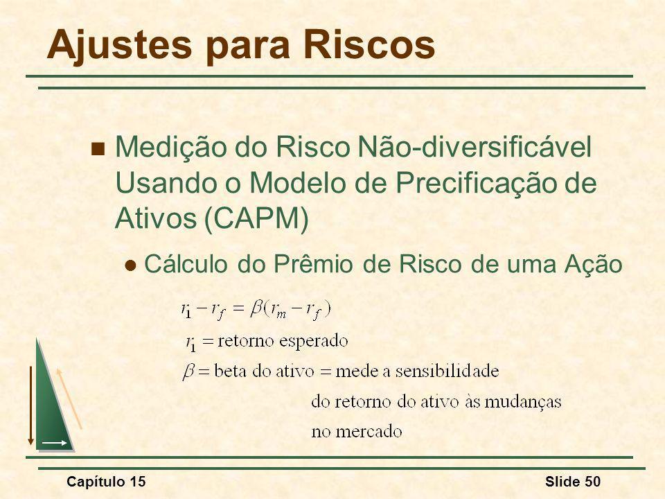 Capítulo 15Slide 50 Ajustes para Riscos Medição do Risco Não-diversificável Usando o Modelo de Precificação de Ativos (CAPM) Cálculo do Prêmio de Risco de uma Ação