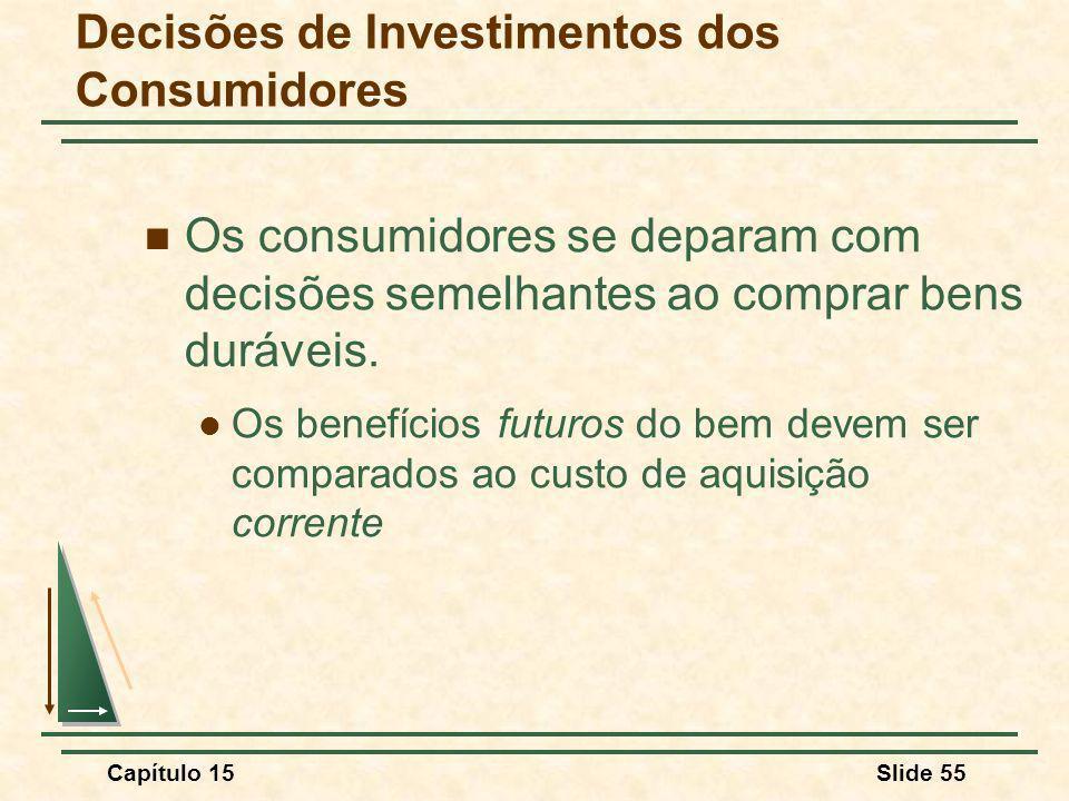 Capítulo 15Slide 55 Decisões de Investimentos dos Consumidores Os consumidores se deparam com decisões semelhantes ao comprar bens duráveis.