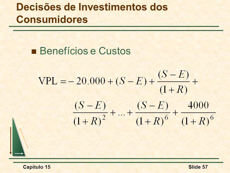Capítulo 15Slide 57 Benefícios e Custos Decisões de Investimentos dos Consumidores