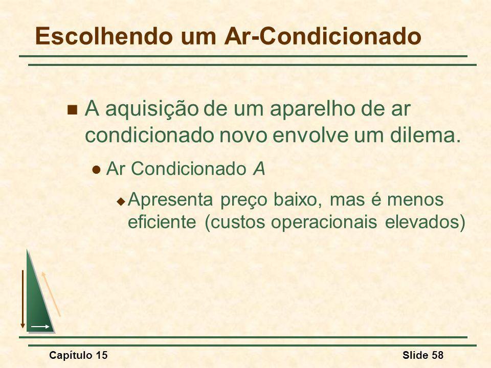 Capítulo 15Slide 58 Escolhendo um Ar-Condicionado A aquisição de um aparelho de ar condicionado novo envolve um dilema.