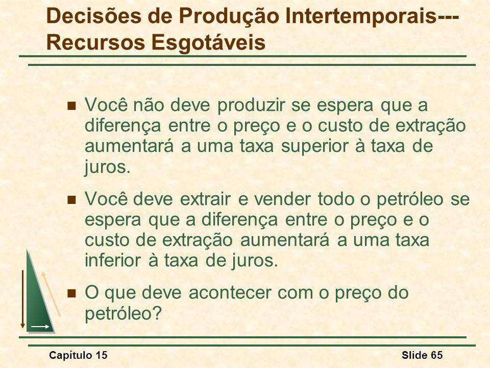 Capítulo 15Slide 65 Você não deve produzir se espera que a diferença entre o preço e o custo de extração aumentará a uma taxa superior à taxa de juros.