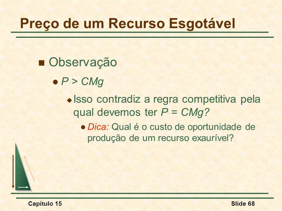 Capítulo 15Slide 68 Observação P > CMg Isso contradiz a regra competitiva pela qual devemos ter P = CMg.