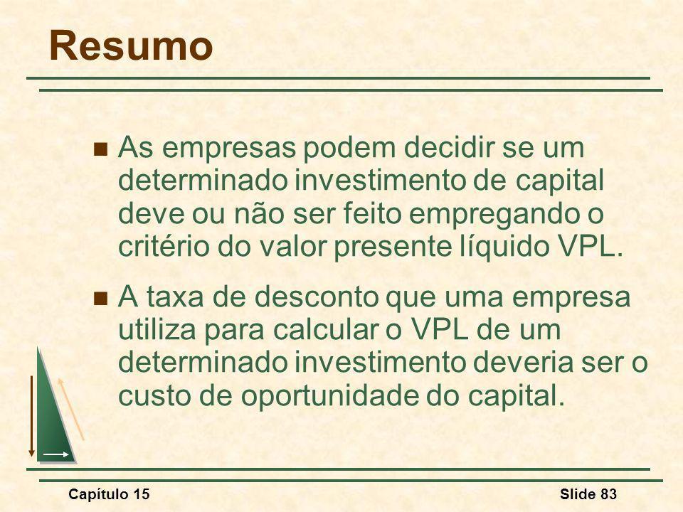 Capítulo 15Slide 83 Resumo As empresas podem decidir se um determinado investimento de capital deve ou não ser feito empregando o critério do valor presente líquido VPL.
