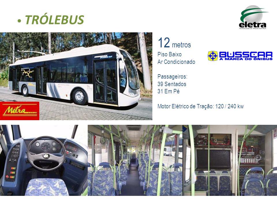 TRÓLEBUS 12 metros Piso Baixo Ar Condicionado Passageiros: 39 Sentados 31 Em Pé Motor Elétrico de Tração: 120 / 240 kw