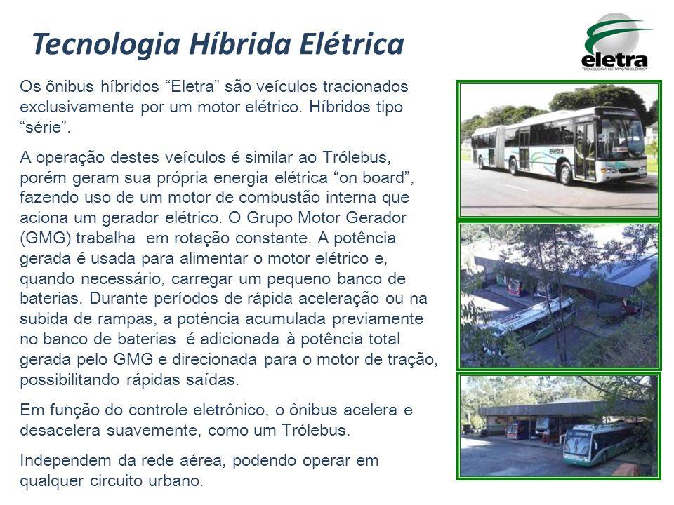 Os ônibus híbridos Eletra são veículos tracionados exclusivamente por um motor elétrico. Híbridos tipo série. A operação destes veículos é similar ao
