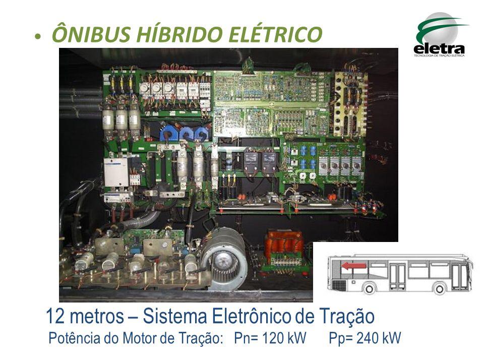 12 metros – Sistema Eletrônico de Tração Potência do Motor de Tração: Pn= 120 kW Pp= 240 kW ÔNIBUS HÍBRIDO ELÉTRICO
