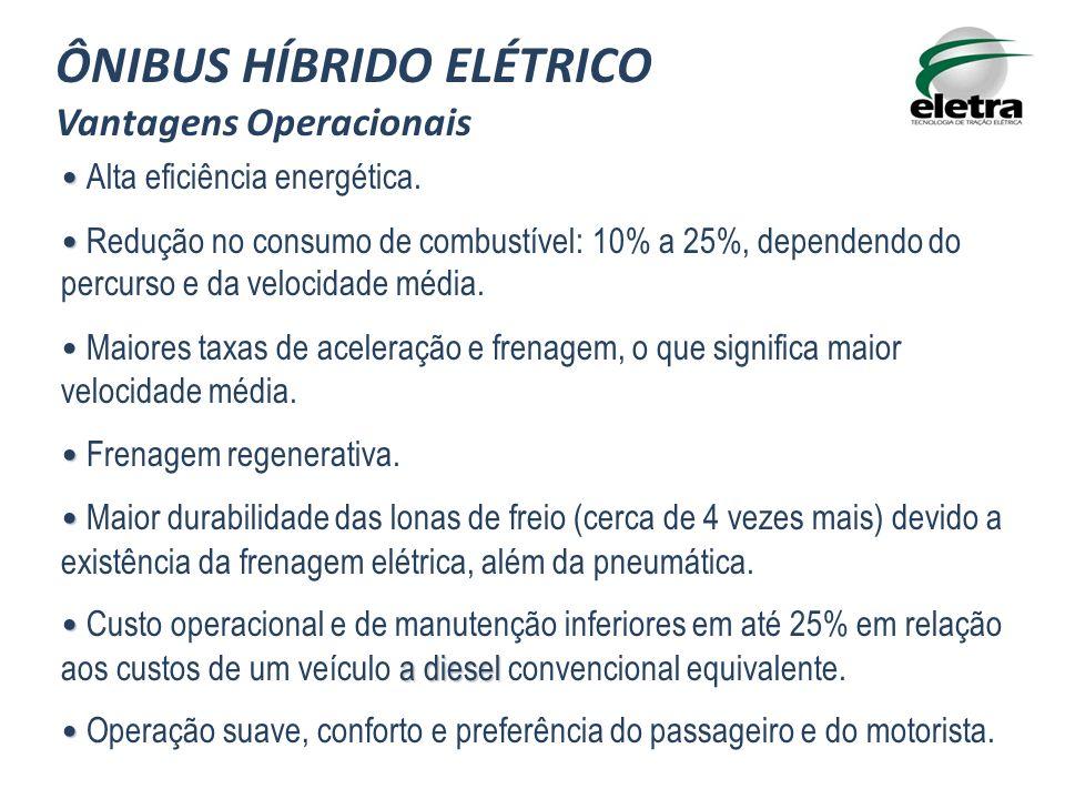 Alta eficiência energética. Redução no consumo de combustível: 10% a 25%, dependendo do percurso e da velocidade média. Maiores taxas de aceleração e