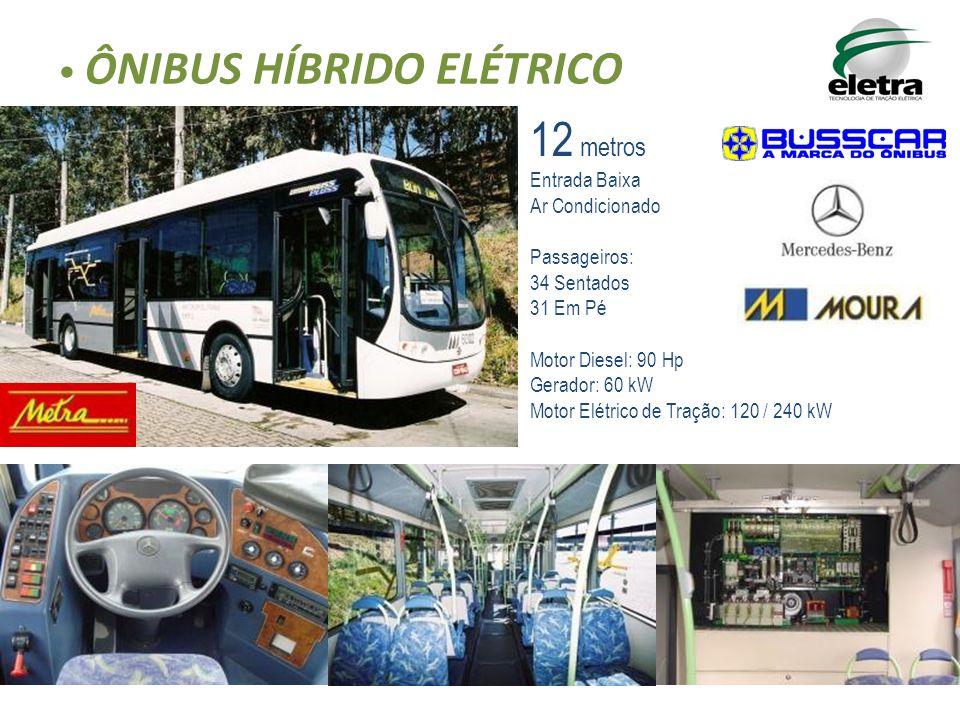 ÔNIBUS HÍBRIDO ELÉTRICO 12 metros Entrada Baixa Ar Condicionado Passageiros: 34 Sentados 31 Em Pé Motor Diesel: 90 Hp Gerador: 60 kW Motor Elétrico de Tração: 120 / 240 kW