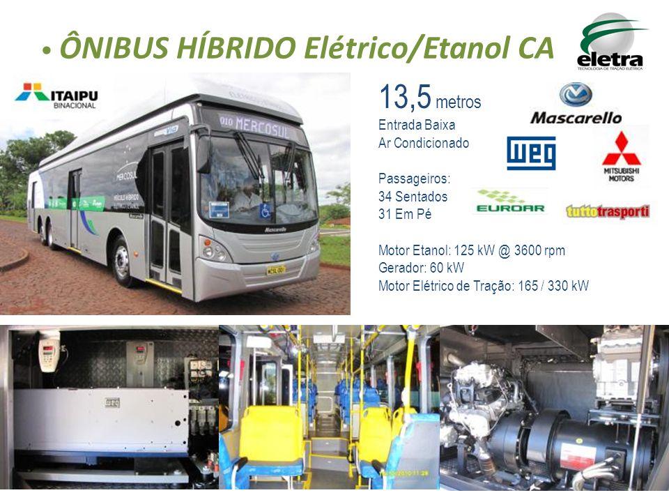 ÔNIBUS HÍBRIDO Elétrico/Etanol CA 13,5 metros Entrada Baixa Ar Condicionado Passageiros: 34 Sentados 31 Em Pé Motor Etanol: 125 kW @ 3600 rpm Gerador:
