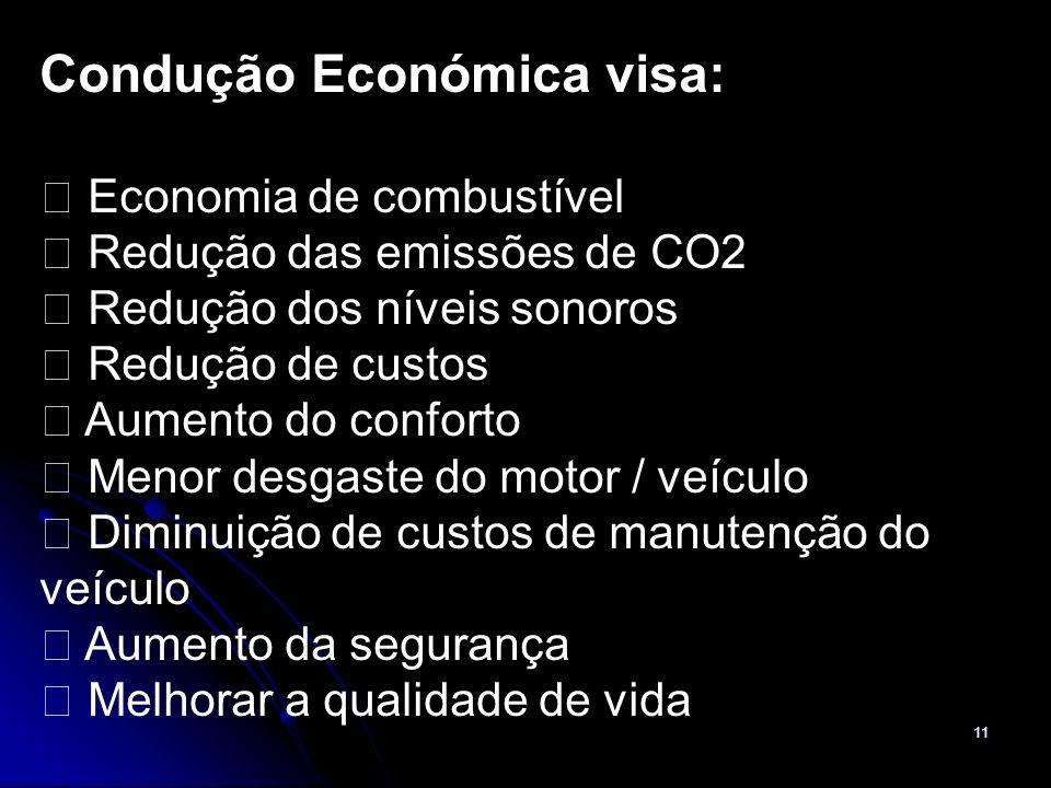 11 Condução Económica visa: Economia de combustível Redução das emissões de CO2 Redução dos níveis sonoros Redução de custos Aumento do conforto Menor