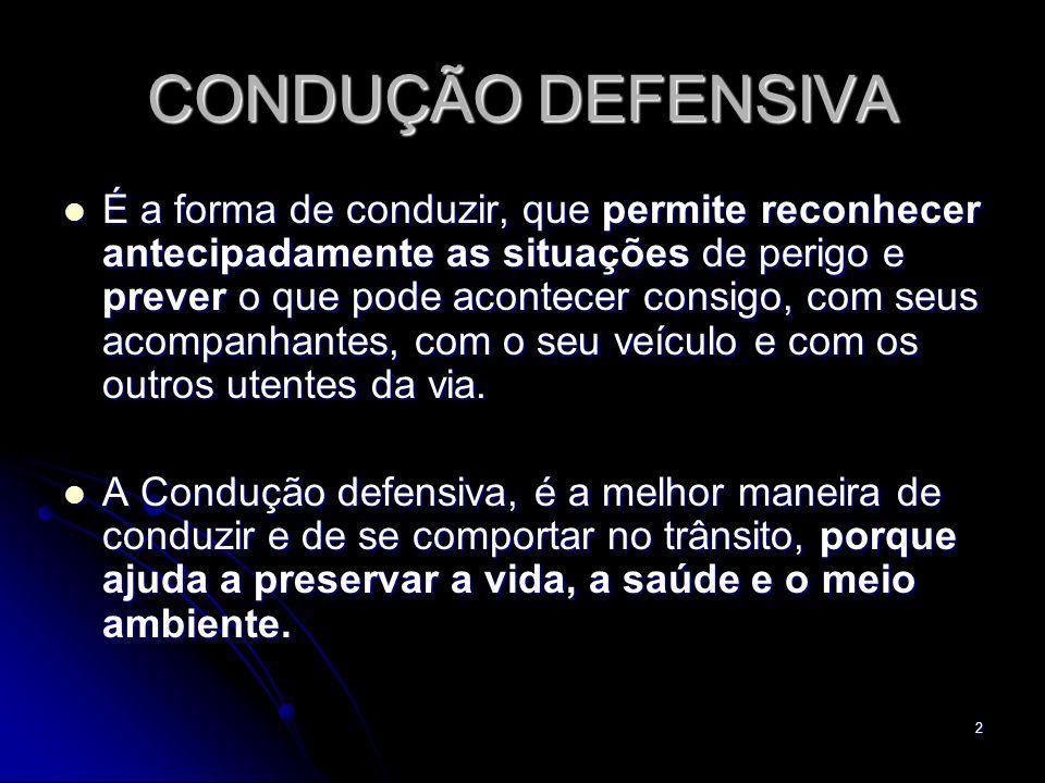 2 CONDUÇÃO DEFENSIVA É a forma de conduzir, que permite reconhecer antecipadamente as situações de perigo e prever o que pode acontecer consigo, com s