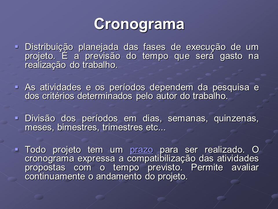 Cronograma Distribuição planejada das fases de execução de um projeto.