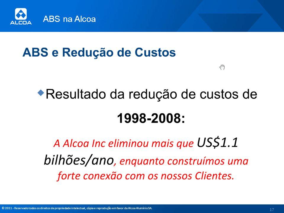 © 2011 - Reservado todos os direitos de propriedade intelectual, cópia e reprodução em favor da Alcoa Alumínio SA. ABS na Alcoa 17