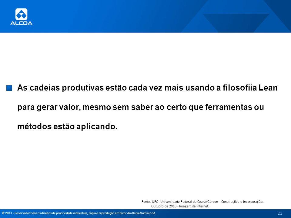 © 2011 - Reservado todos os direitos de propriedade intelectual, cópia e reprodução em favor da Alcoa Alumínio SA. As cadeias produtivas estão cada ve