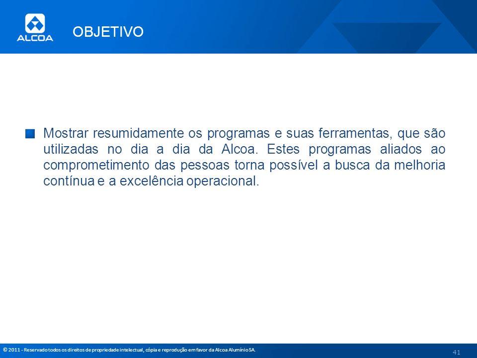 © 2011 - Reservado todos os direitos de propriedade intelectual, cópia e reprodução em favor da Alcoa Alumínio SA. OBJETIVO Mostrar resumidamente os p