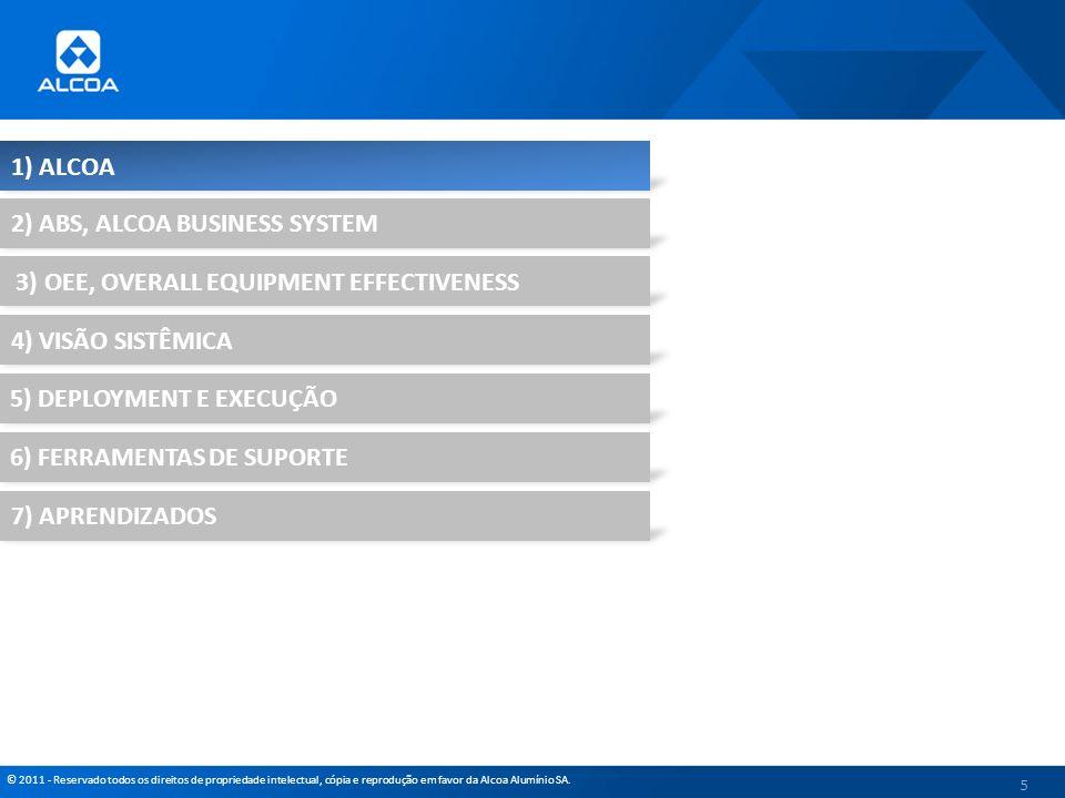 © 2011 - Reservado todos os direitos de propriedade intelectual, cópia e reprodução em favor da Alcoa Alumínio SA. 5 1) ALCOA 2) ABS, ALCOA BUSINESS S