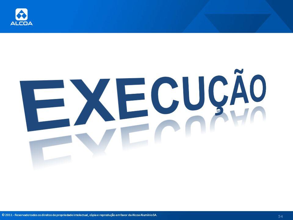 © 2011 - Reservado todos os direitos de propriedade intelectual, cópia e reprodução em favor da Alcoa Alumínio SA. 54