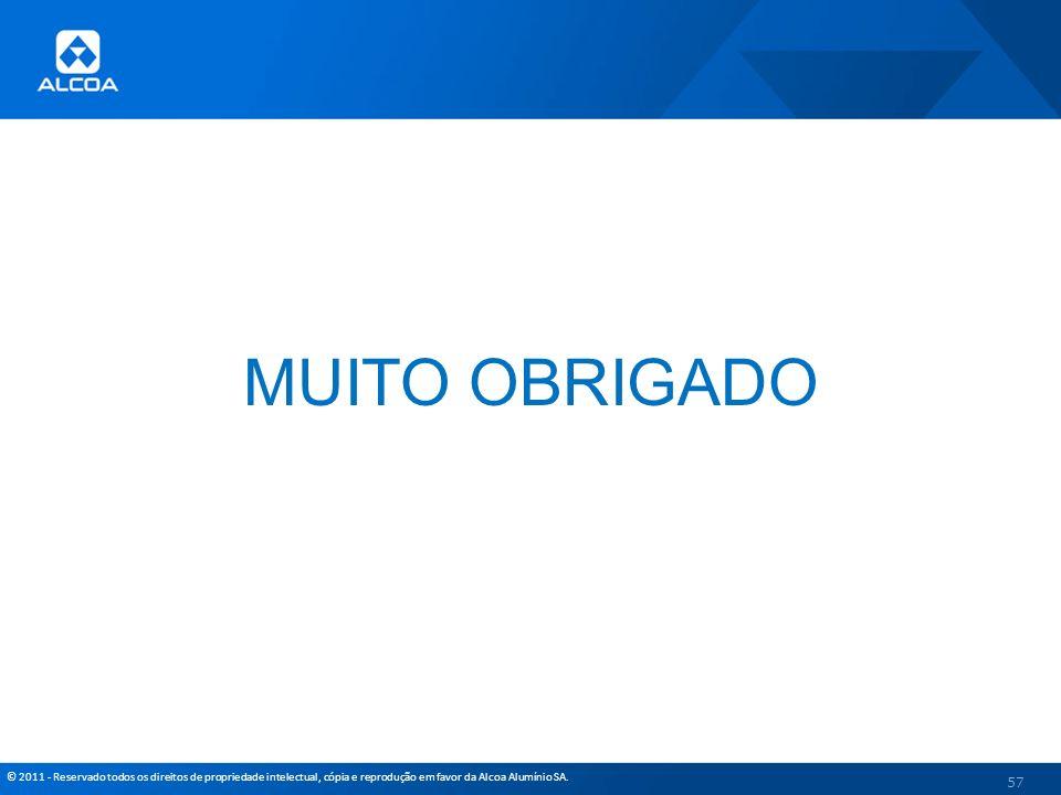 © 2011 - Reservado todos os direitos de propriedade intelectual, cópia e reprodução em favor da Alcoa Alumínio SA. MUITO OBRIGADO 57