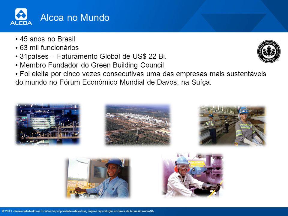 © 2011 - Reservado todos os direitos de propriedade intelectual, cópia e reprodução em favor da Alcoa Alumínio SA. 45 anos no Brasil 63 mil funcionári