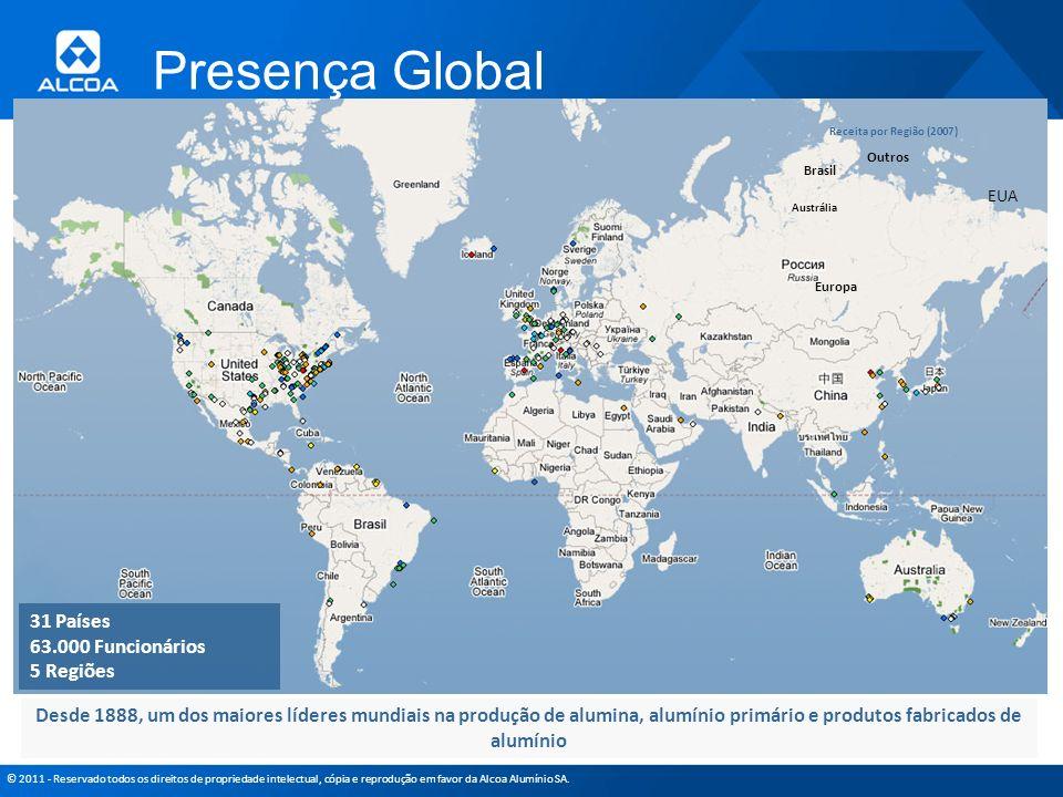 © 2011 - Reservado todos os direitos de propriedade intelectual, cópia e reprodução em favor da Alcoa Alumínio SA. Presença Global Desde 1888, um dos