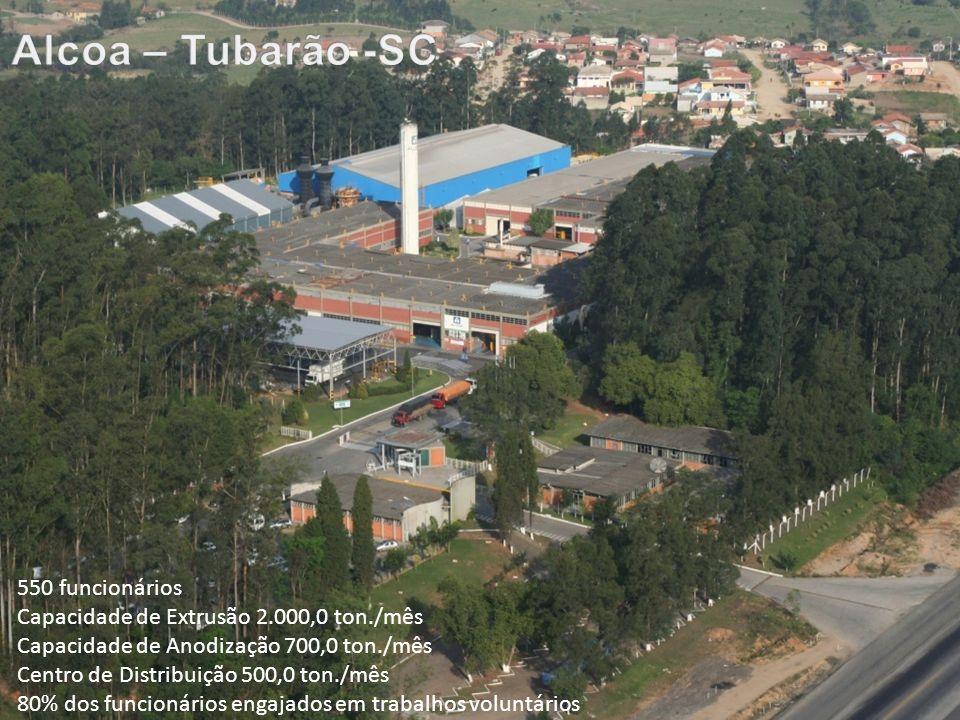 © 2011 - Reservado todos os direitos de propriedade intelectual, cópia e reprodução em favor da Alcoa Alumínio SA. 550 funcionários Capacidade de Extr