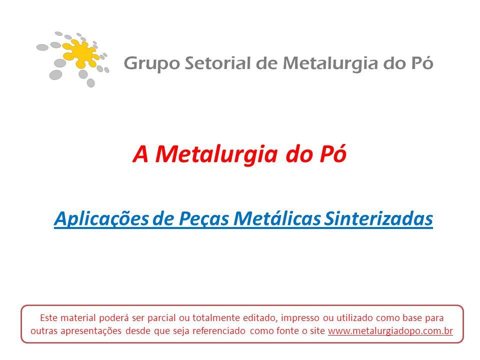A Metalurgia do Pó Aplicações de Peças Metálicas Sinterizadas Este material poderá ser parcial ou totalmente editado, impresso ou utilizado como base