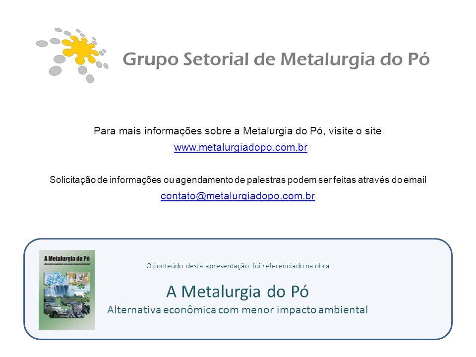 O conteúdo desta apresentação foi referenciado na obra A Metalurgia do Pó Alternativa econômica com menor impacto ambiental Para mais informações sobr