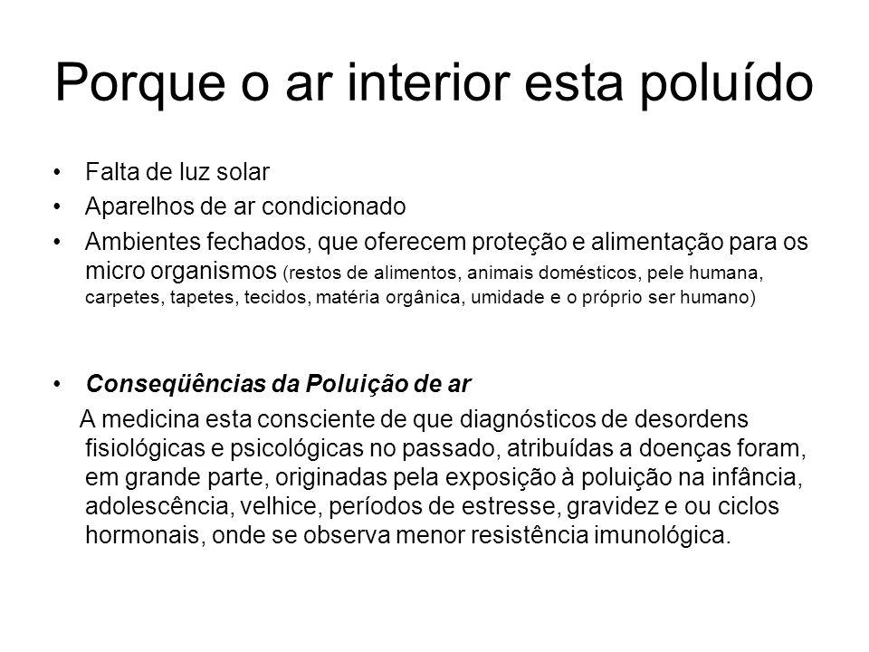 Porque o ar interior esta poluído Falta de luz solar Aparelhos de ar condicionado Ambientes fechados, que oferecem proteção e alimentação para os micr