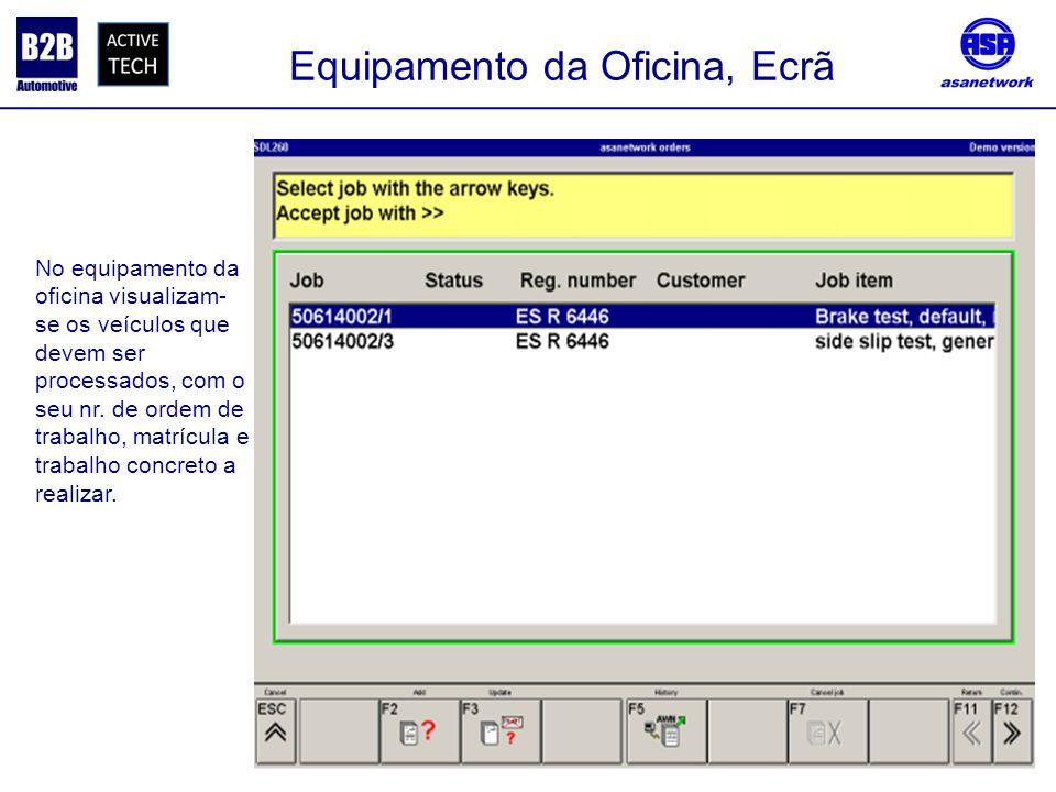 Equipamento da Oficina, Ecrã No equipamento da oficina visualizam- se os veículos que devem ser processados, com o seu nr. de ordem de trabalho, matrí
