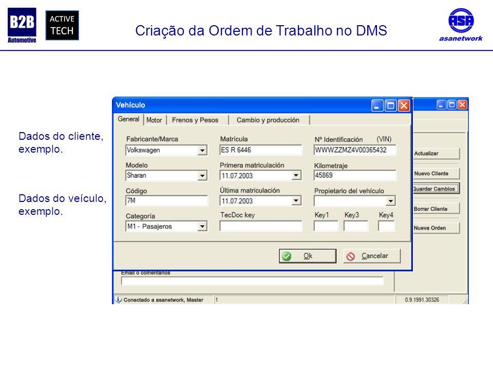 Criação da Ordem de Trabalho no DMS Dados do cliente, exemplo. Dados do veículo, exemplo.