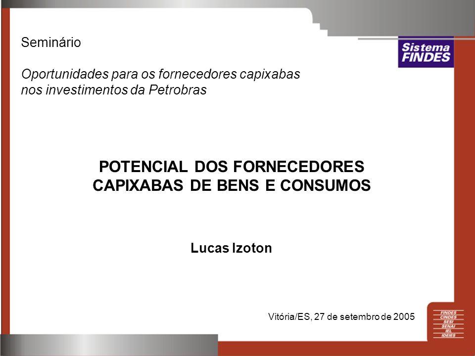 Seminário Oportunidades para os fornecedores capixabas nos investimentos da Petrobras POTENCIAL DOS FORNECEDORES CAPIXABAS DE BENS E CONSUMOS Lucas Iz