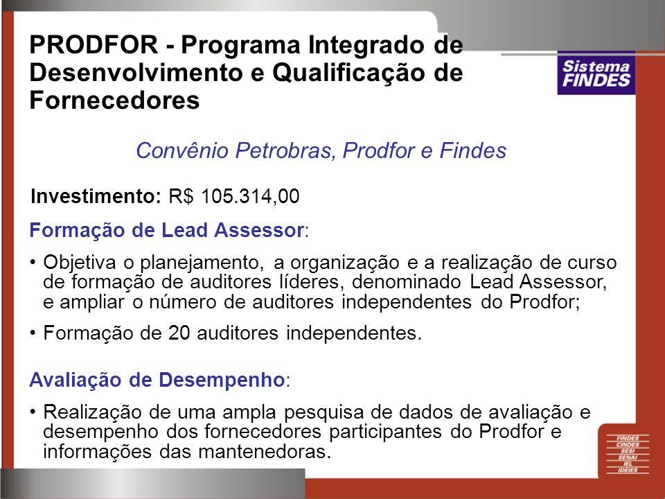 PRODFOR - Programa Integrado de Desenvolvimento e Qualificação de Fornecedores Convênio Petrobras, Prodfor e Findes Formação de Lead Assessor: Objetiv