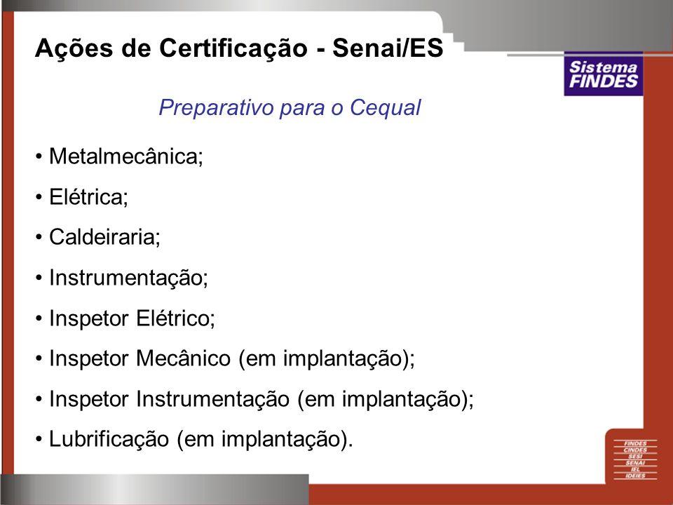 Ações de Certificação - Senai/ES Metalmecânica; Elétrica; Caldeiraria; Instrumentação; Inspetor Elétrico; Inspetor Mecânico (em implantação); Inspetor