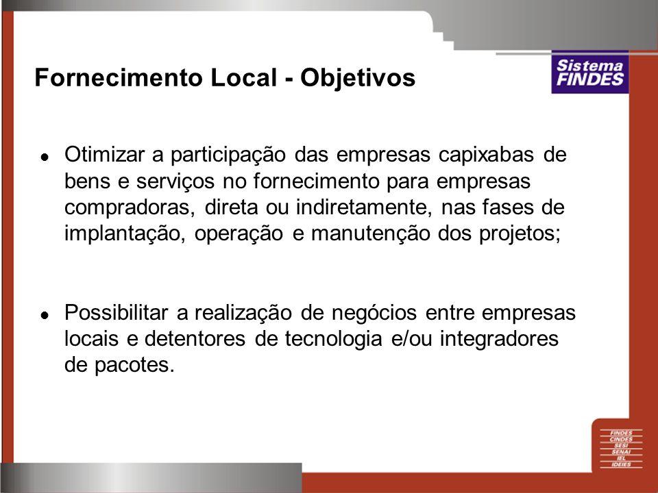 Fornecimento Local - Objetivos Otimizar a participação das empresas capixabas de bens e serviços no fornecimento para empresas compradoras, direta ou