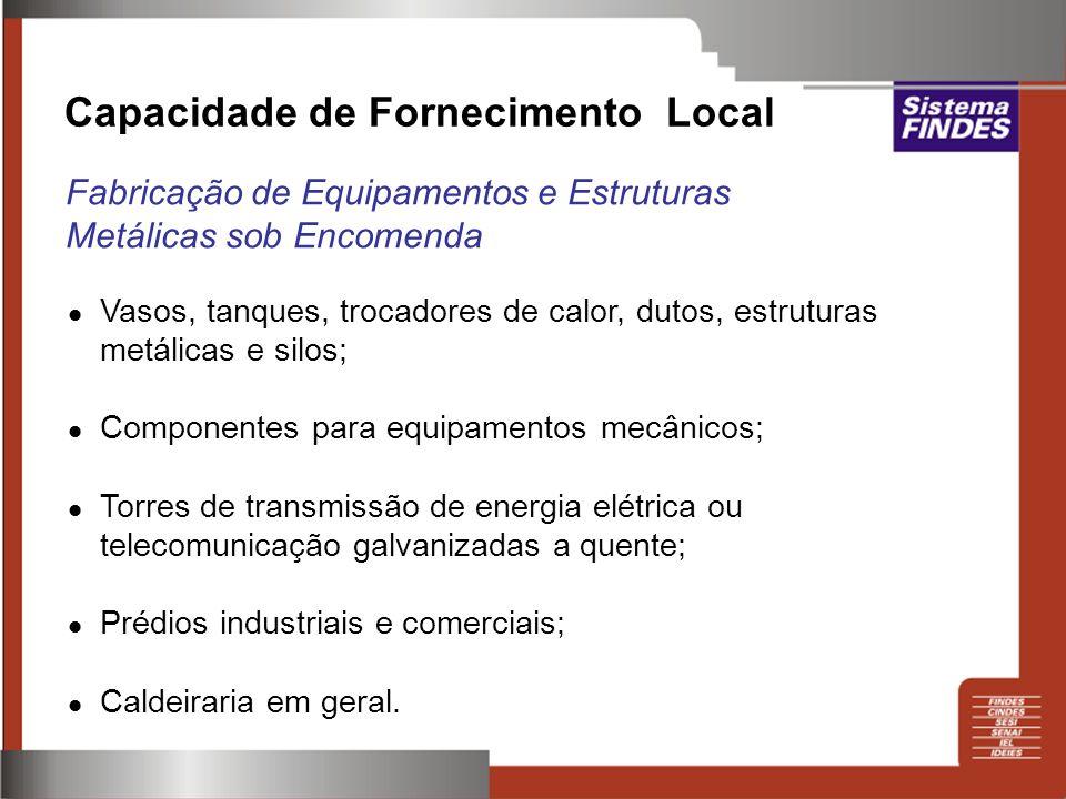 Capacidade de Fornecimento Local Fabricação de Equipamentos e Estruturas Metálicas sob Encomenda Vasos, tanques, trocadores de calor, dutos, estrutura