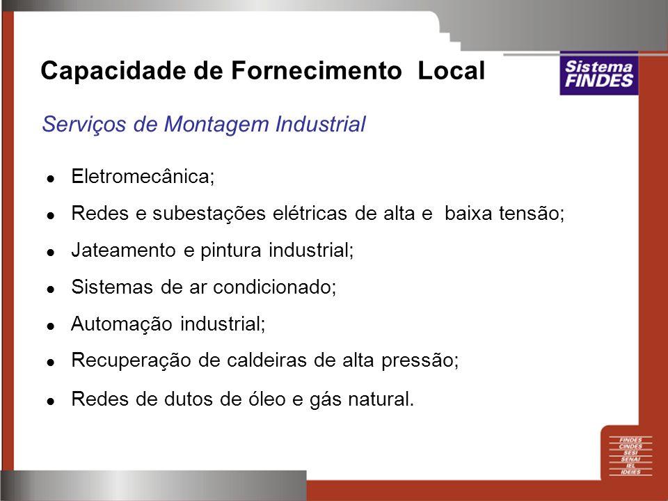 Eletromecânica; Redes e subestações elétricas de alta e baixa tensão; Jateamento e pintura industrial; Sistemas de ar condicionado; Automação industri