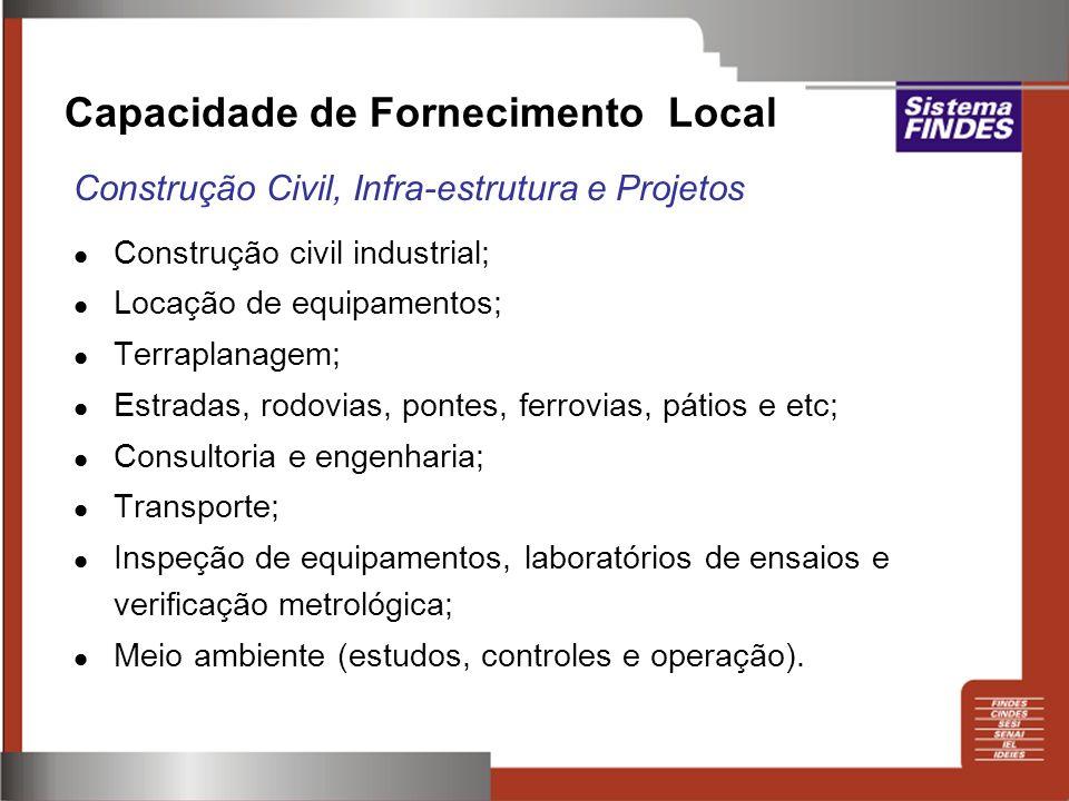 Construção civil industrial; Locação de equipamentos; Terraplanagem; Estradas, rodovias, pontes, ferrovias, pátios e etc; Consultoria e engenharia; Tr
