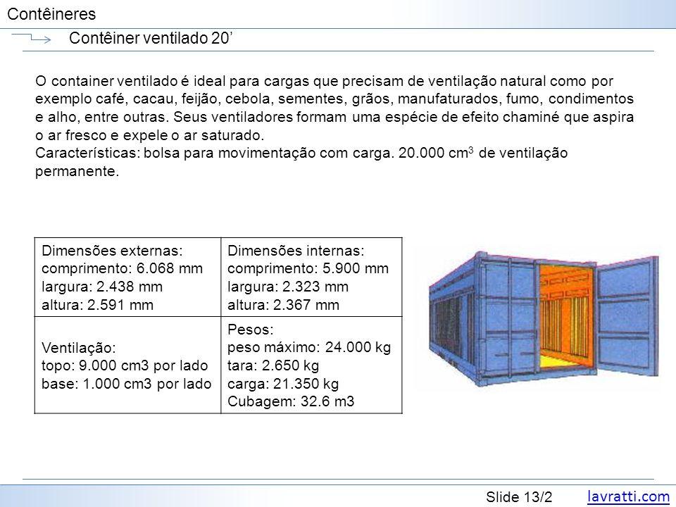lavratti.com Slide 13/2 Contêineres Contêiner ventilado 20 O container ventilado é ideal para cargas que precisam de ventilação natural como por exemp