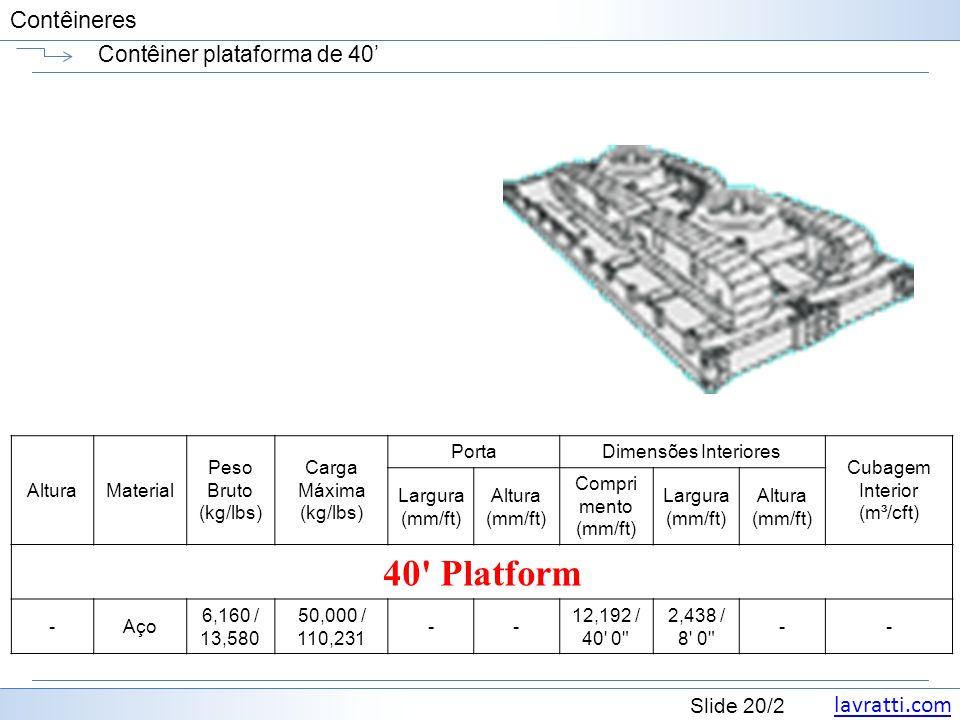 lavratti.com Slide 20/2 Contêineres Contêiner plataforma de 40 AlturaMaterial Peso Bruto (kg/lbs) Carga Máxima (kg/lbs) PortaDimensões Interiores Cuba
